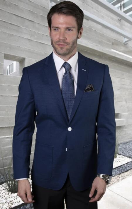 Mens Two Button Notch Lapel Blazer Sapphire