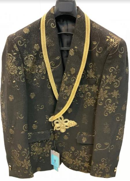 Black and Gold Tuxedo - Mens Gold Blazer