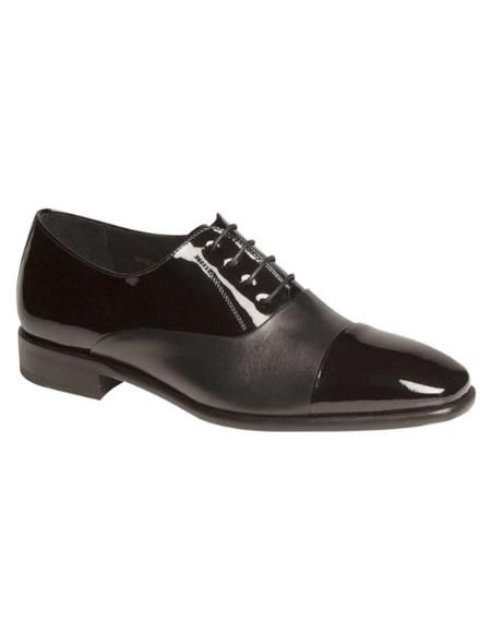 Mezlan Concerto Black Patent and Calf Leather Oxford