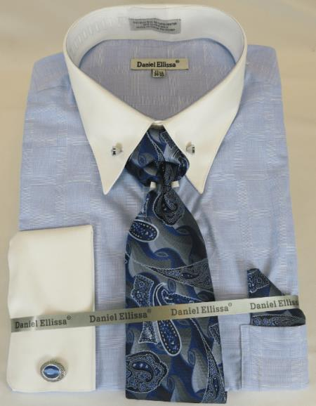 Mens Dress Shirt Point Collar Powder Blue
