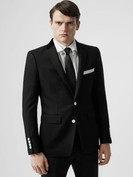 Black Blazer with White Buttons -  Mens Black Sport Coat