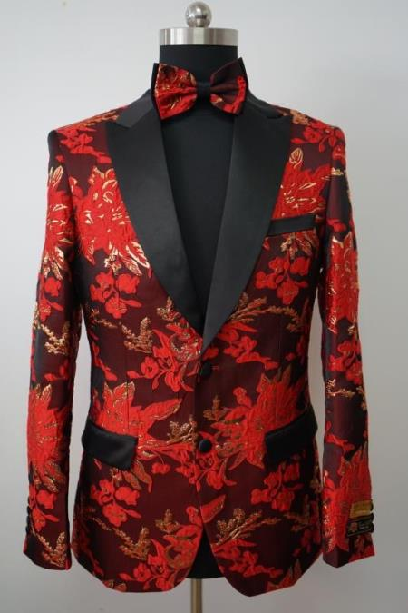 Mens Flower Tuxedo - Floral Blazer - Fashion Colorful Sport Coat With Matching Bowtie