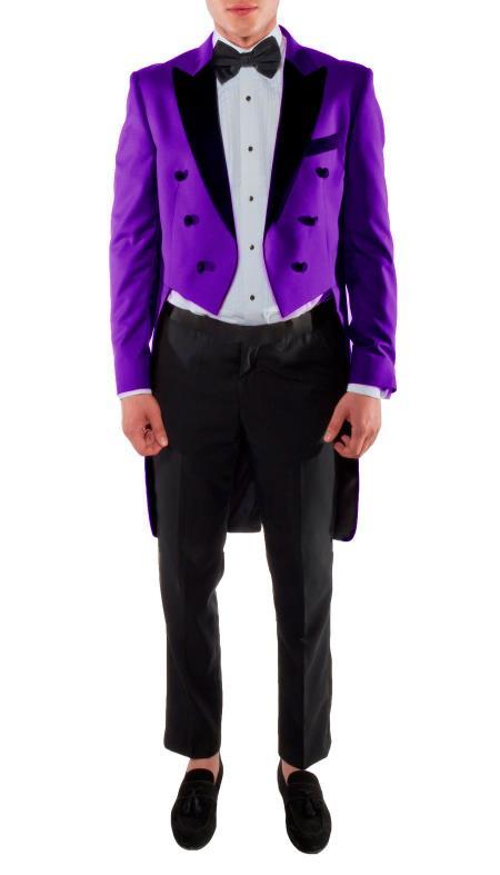 VICTORIAN TAILCOAT - Tuxedo Jacket With The Tail Suit Tuxedo With Tails - Dark Purple Tuxedo