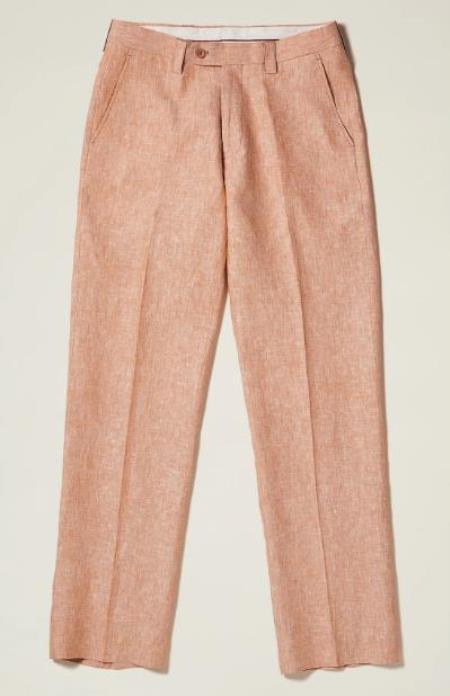 Linen Flat Front Pants — Camel Colors