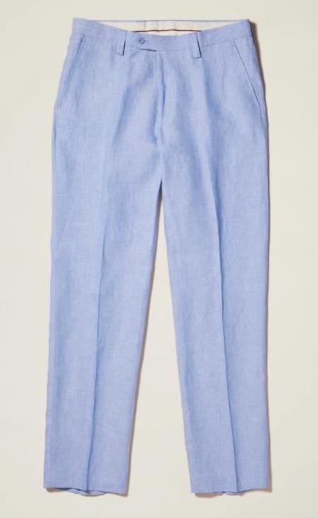 Linen Flat Front Pants — Lt Blue Colors
