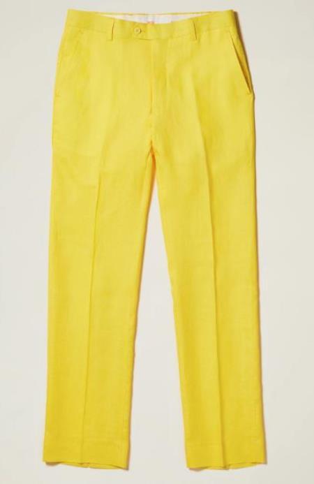 Linen Flat Front Pants — Yellow Colors