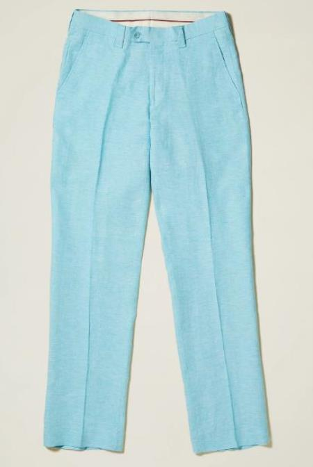 Linen Flat Front Pants — Paradise Sky Colors