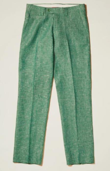 Linen Flat Front Pants — True Green Colors