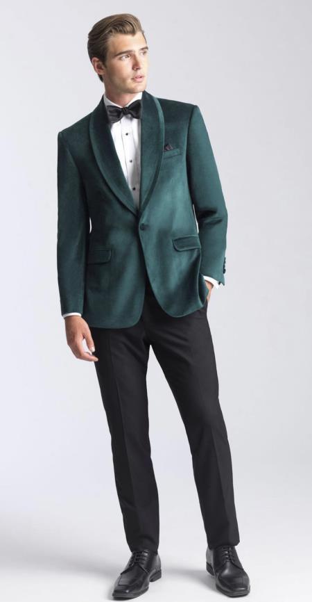 Mens Velvet Dinner Jacket - Mens Tuxedo Blazer With Trim Shawl Collar Green