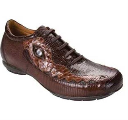 SKU#ND324 High Top Exotic Skin Sneakers for Men Belvedere Corona - Dark Brown/Brown Lizard Sneaker $282