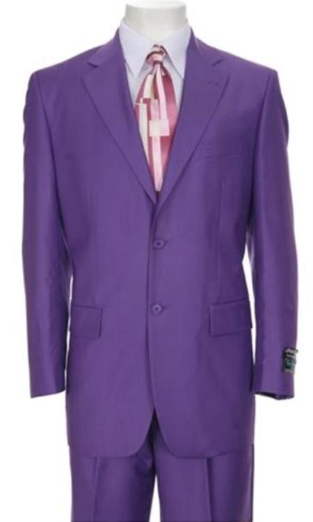 SKU#TT77 Classic Ultra Smooth Purple Wool Suit Color 2 Button Style Flat Front Pants $595