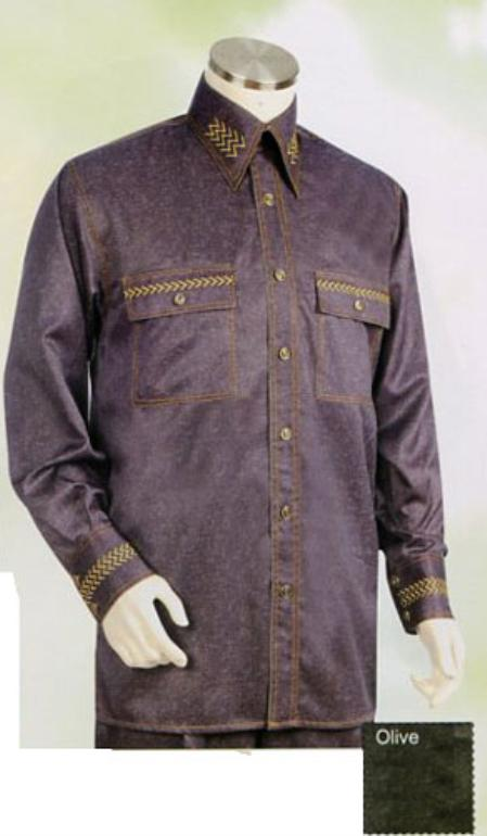 SKU#LZ802 Mens Long Sleeve 2pc Set including Matching Wide Leg Dress Pants Brown $125