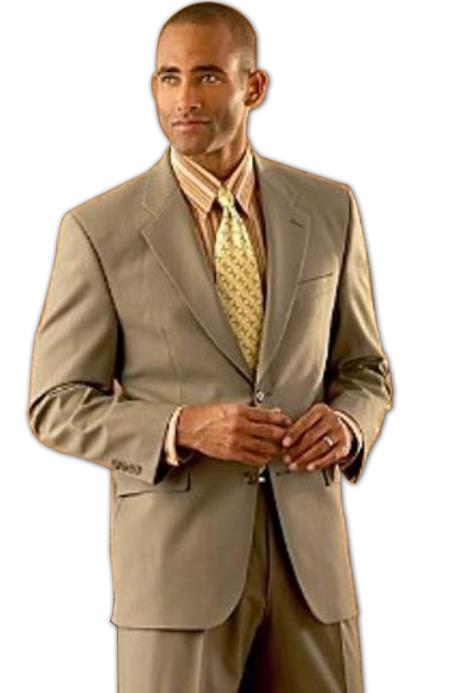 Coffee Tan ~ Beige/ Mens 2 Button Super Wool Double Side Vent  2 Piece Suits - Two piece Business suits