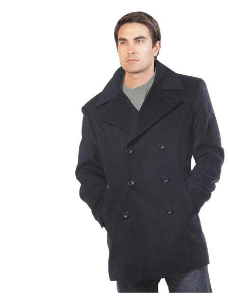 Mens Wool & Cashmere Black Double breasted Peacoat