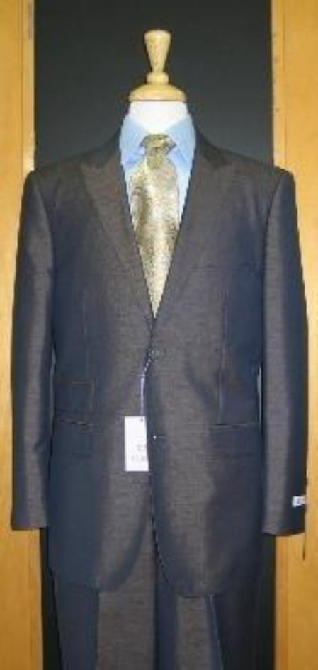 SKU#CJ742 2 Button Peak Lapel Teal Grey Erodesent Tapered Cut Flat Front Suit $169