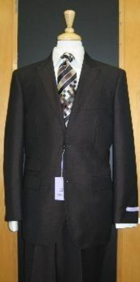 SKU#824 2 Button Peak Lapel Black Erodesent Tapered Cut Flat Front Suit $169