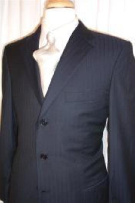 SKU# JD092 Navy Blue Shadow 3 Buttons Stripe ~ Pinstripe Super 140s Wool Suits