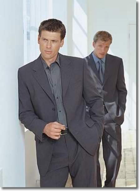 SKU#G433 Mixture of Blue + Dark Gray Wool blend 3 Button Suit