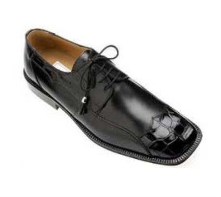 SKU#VT973 Ferrini Black Genuine Alligator/Calf Shoes $469