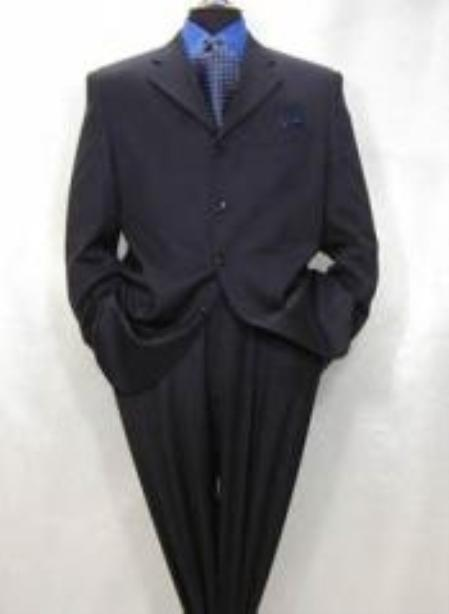 SKU#MUA64 Mens 4-Button Dark Navy Blue Super Fine Pleated Pants Suit non back vent coat style coat