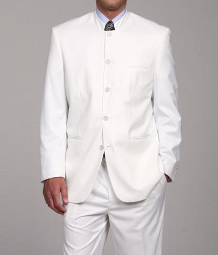 SKU#DL8882 Mens White Mandarin Collar Suit