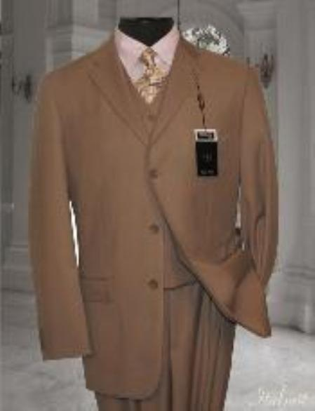 SKU#CD2345 Classic 3PC 3 Button Solid Tan Vested Mens Suit With Flat Front Pants $199