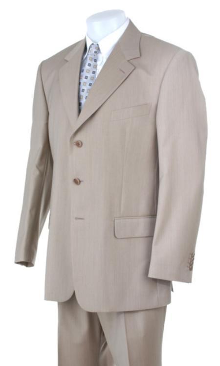 SKU#MU203 Stone~Sand~Khaki~Light Tan ~ Beige Light Weight Suit 3 Buttons