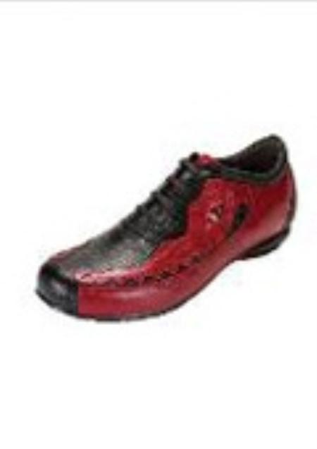 SKU#OX6666 Belvedere Corona Oxford in Black / Red Sneaker $206