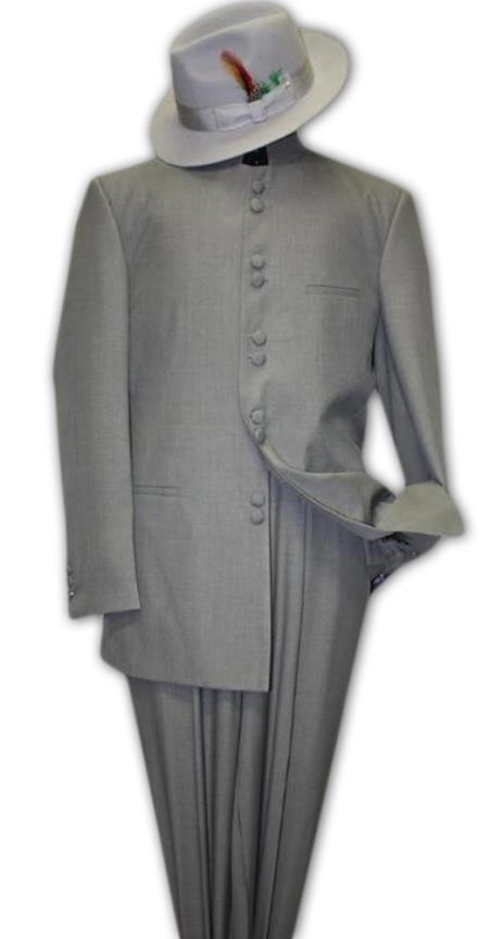Solid Color Gray ~ Grey Mandarin Collar 2PC Mens Suit Banded No Collar Style