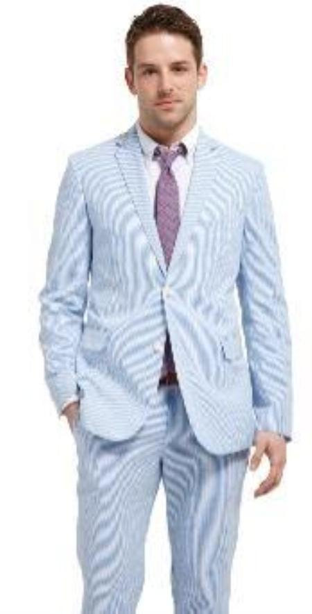 SKU#KX3421 Seasons Hottest Suit, 2 Buttoned Seersucker Suit Abailable in Mens and Boys Size $149