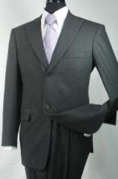 SKU#BF3902 Mens Slim Fit Suit in 100% Wool - Charcoal Stripe $139