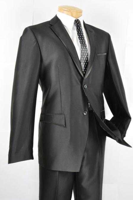 SKU#NX8876 Mens Slim Fit Trimmed Two Tone Blazer/affordable suit online sale/Tuxedo - Black $164