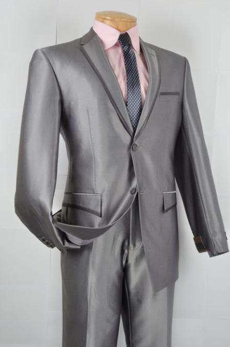 SKU#HC8822 Mens Slim Fit affordable suit online sale - Gray $139