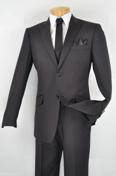 MensUSA.com Mens Slim Fit Suit Black(Exchange only policy) at Sears.com