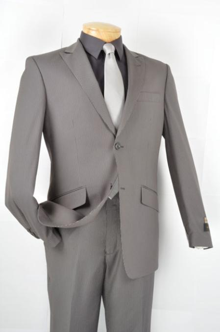 SKU#MZ18474 Mens Slim Fit affordable suit online sale - Gray $139