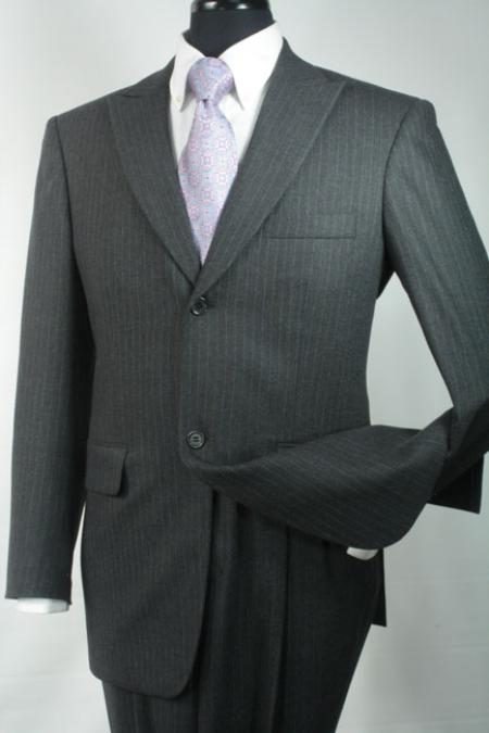 SKU#YU9738 Mens Slim Fit Suit in 100% Wool - Charcoal Stripe $139