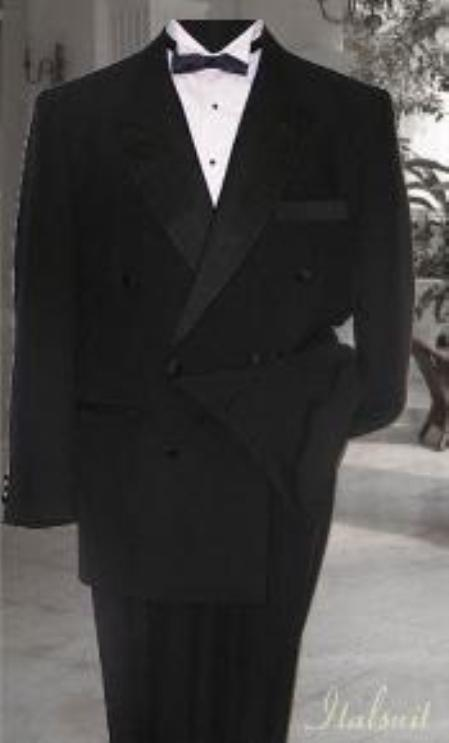 New Vintage Tuxedos, Tailcoats, Morning Suits, Dinner Jackets Double Breasted Mens Black Tuxedo Supers French Cut 6 on 2 Button Closer Style Jack $350.00 AT vintagedancer.com