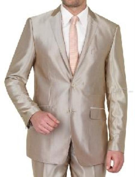 SKU#VINS2CC-1 Beige Shiny sharkskin Single Breasted Mens Suit Side-Vented Mocca-Bronze-Sand-Taupe Khaki Champagne