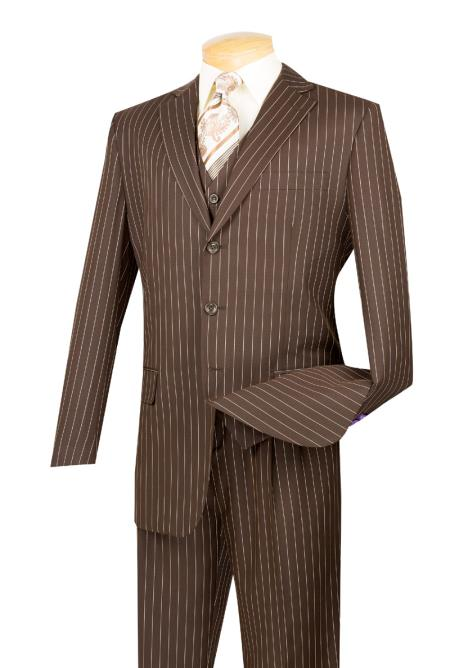 SKU#5802V Mens Brown With Cream Pinstripe Vested 3 Piece three piece suit - Jacket + Pants + Vest $1