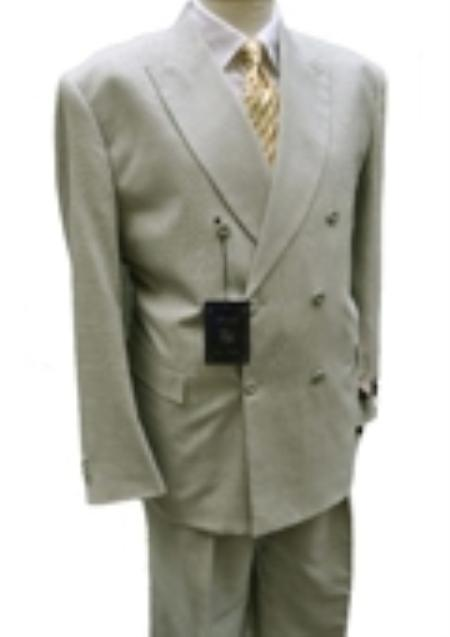 SKU#UX7354 Mens Double Breasted Suit Jacket + Pleated Pants Super 140s 100% Wool greenish color wit