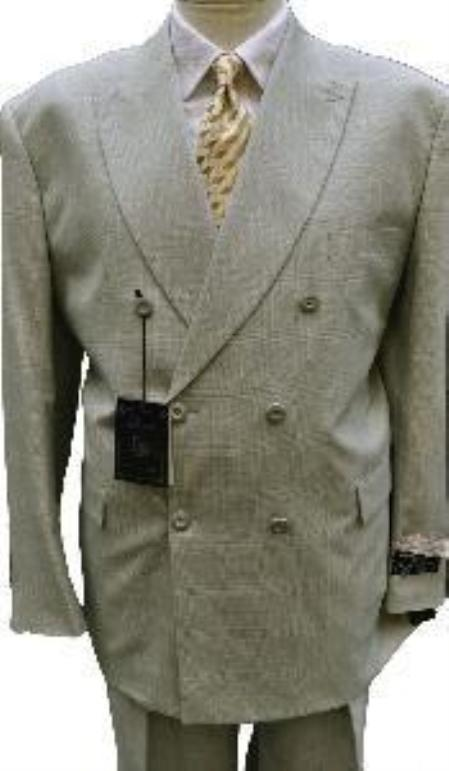 "SKU#RB+DB+greenish color with some hint of Gray ""sage""  Mens Double Breasted Suit Jacket + Pleated P"