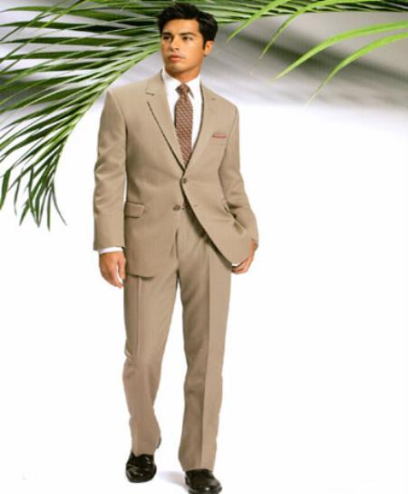 SKU#HK9292 Mens Two Button Slim Cut Fitted Light Tan Suit $139