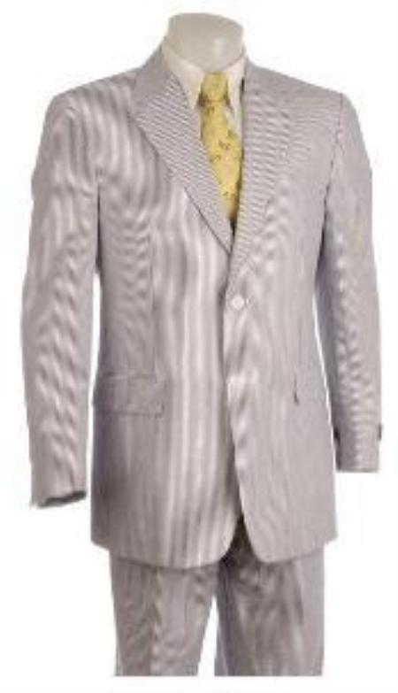 SKU#ZP9382 Two Button Vented Seersucker Suit (Jacket + Pants) Available in Mens and Boys size