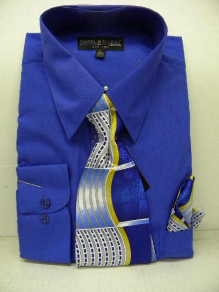 SKU#RY7868 Mens Royal Blue Dress Shirt Tie Set $39