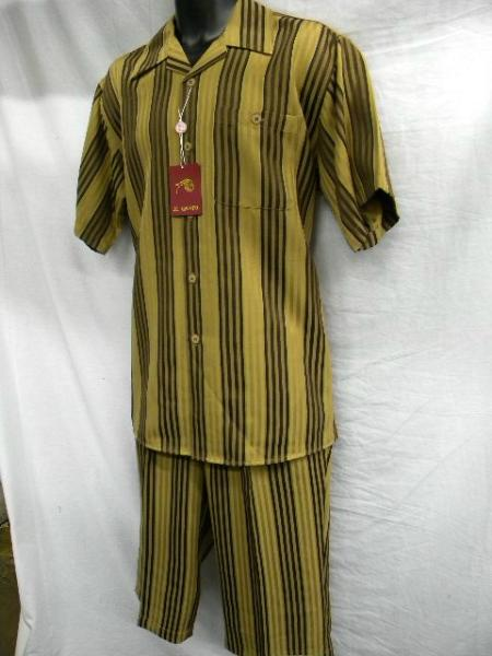 SKU#WE0022 Il Canto Brown Multi Stripe Mens Fashion Short Sets $500