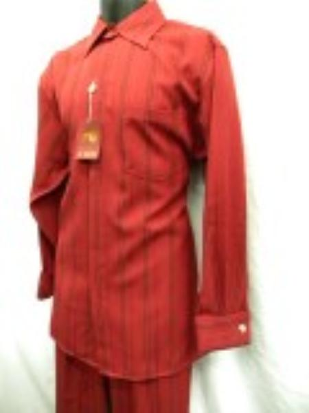 SKU#HD9292 Mens New Red French Cuff Wide Leg Walking Suit $69