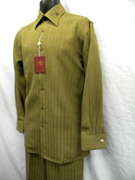 SKU#QA9911 Mens New Sand French Cuff Wide Leg Walking Suit $69