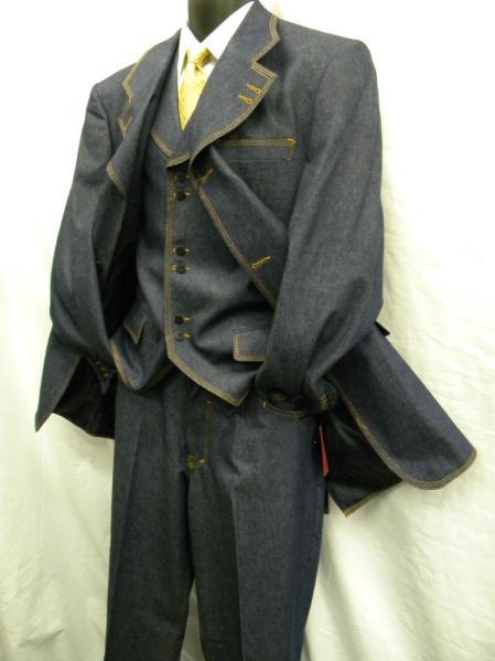 SKU#PL1939 Mens New Three Piece Blue Denim Fashion Suit $175