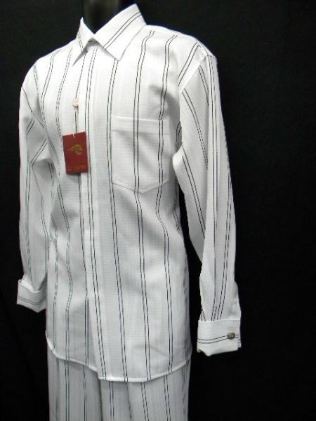 SKU#QC9302 Mens New White French Cuff Wide Leg Walking Suit - Size Medium Only $69