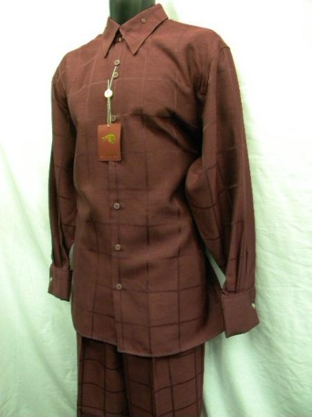 SKU#QD9291 Mens New Wine French Cuff Wide Leg Walking Suit $69